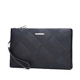Men's Bags PU Leather Clutch / Wristlet Zipper Solid Color Geometric Pattern Lattice for Shopping / Daily Black / Fall  Winter