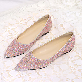 Women's Wedding Shoes Glitter Crystal Sequined Jeweled Flat Heel Pointed Toe Synthetics Classic / Sweet Spring  Summer Pink / Gold / Silver