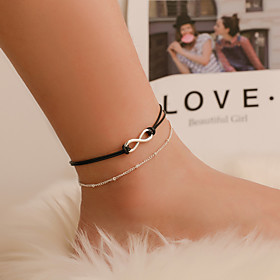 Ankle Bracelet Women's Body Jewelry For Party Holiday Alloy Infinity Silver 1pc