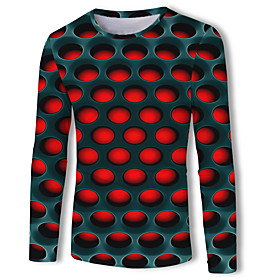 Men's Casual / Daily T-shirt Geometric 3D Graphic Print Long Sleeve Tops Basic Streetwear Round Neck Red