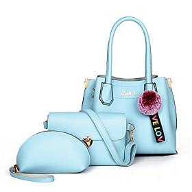 Women's Pom-pom PU Bag Set Solid Color 3 Pcs Purse Set Black / White / Blushing Pink