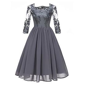 Women's A-Line Dress Knee Length Dress - 3/4 Length Sleeve Floral Lace Square Neck Hot Lace Blue Wine Gray S M L XL XXL