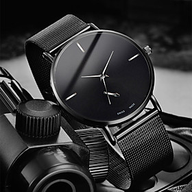 Men's Dress Watch Quartz Stylish Casual Water Resistant / Waterproof Analog Rose Gold Black Gold / One Year / Stainless Steel / Large Dial