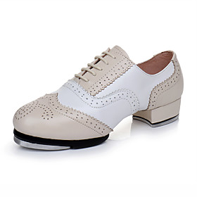 Men's Dance Shoes Leather / Cowhide Tap Shoes Heel Thick Heel Customizable Nude / Performance / Practice