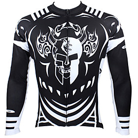 ILPALADINO Men's Long Sleeve Cycling Jersey Winter Polyester White Black Blue Patchwork Bike Jersey Top Mountain Bike MTB Road Bike Cycling