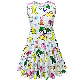 Kids Toddler Girls' Active Street chic Dinosaur Animal Cartoon Sleeveless Above Knee Dress White