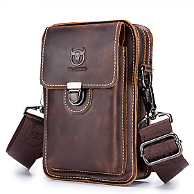 Men's Bags Cowhide Fanny Pack Zipper Solid Color for Daily / Outdoor Brown / Fall  Winter