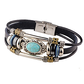 Men's Turquoise Leather Bracelet woven Personalized Vintage Leather Bracelet Jewelry Red / Clover / Blue For Casual Stage
