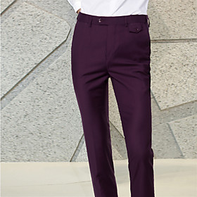 Men's Basic Dress Pants Chinos Pants - Solid Colored Wine Black Purple M / L / XL