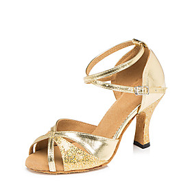 Women's Latin Shoes Heel Flared Heel PU Glitter Paillette Gold / Gray / Silver / Performance / Leather / Practice