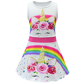 Kids Toddler Girls' Active Street chic Unicorn Floral Sleeveless Above Knee Dress White