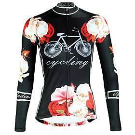 ILPALADINO Women's Long Sleeve Cycling Jersey Winter Elastane Black Floral Botanical Bike Top Mountain Bike MTB Road Bike Cycling Breathable Quick Dr