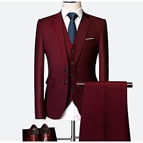 Men's Burgundy Suits, Solid Colored Polyester Wine / Light Blue / Royal Blue