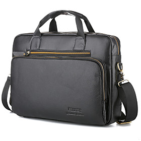 Men's Bags Cowhide Laptop Bag / Briefcase / Top Handle Bag Belt Zipper Solid Color for Shopping / Daily Black / Fall  Winter