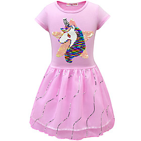 Kids Toddler Girls' Active Street chic Unicorn Solid Colored Cartoon Short Sleeve Above Knee Dress White