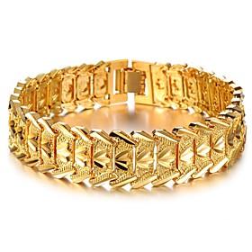Men's Chain Bracelet Tennis Bracelet Bracelet 3D Fashion Fashion 18K Gold Plated Bracelet Jewelry Gold For Christmas Halloween Party Evening Gift Festival