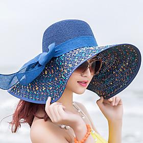 Women's Active Basic Cute Straw Straw Hat Sun Hat-Color Block All Seasons Beige Navy Blue Khaki