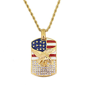Men's Pendant Necklace American flag Eagle Flag Patriotic Jewelry European Trendy Casual / Sporty Stainless Steel Gold 60 cm Necklace Jewelry 1pc For Gift Dail