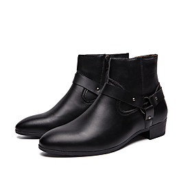 Men's Boots Combat Boots Work Boots Daily Leather / Cowhide Black Fall  Winter