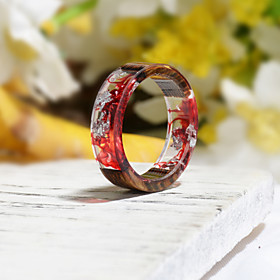 Men's Women's Ring Resin 1pc Dark Red Resin Wood Round Natural Boho Gift Jewelry Floral Theme Flower Botanical Cute Lovely