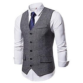 Men's Vest, Solid Colored V Neck Polyester Black / Gray / Khaki