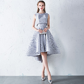 Two Piece Hot Grey Homecoming Cocktail Party Dress Jewel Neck Sleeveless Asymmetrical Lace with Pleats Pattern / Print 2020