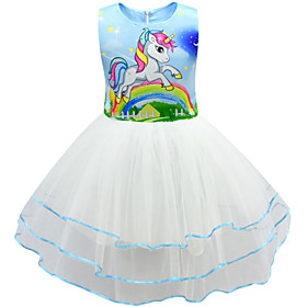 Kids Girls' Active Cute Unicorn Patchwork Cartoon Layered Mesh Sleeveless Knee-length Dress Blushing Pink