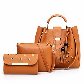 Women's Rivet / Zipper PU Bag Set 2020 Solid Color 3 Pcs Purse Set Black / Blue / Red