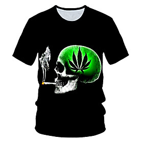Men's 3D Graphic Print T-shirt Street chic Exaggerated Daily Wear Club Round Neck Black / Short Sleeve / Skull