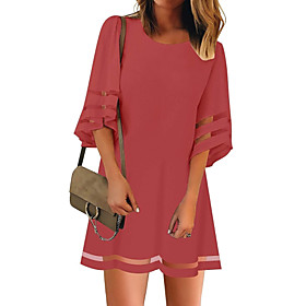 Women's A Line Dress - Half Sleeve Solid Colored White Black Red S M L XL XXL