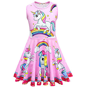Kids Toddler Girls' Active Street chic Unicorn Cartoon Sleeveless Above Knee Dress Blue