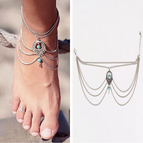 Women's Turquoise Barefoot Sandals Stylish Anklet Jewelry Silver For Daily
