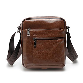 Men's Bags Nappa Leather / Cowhide Crossbody Bag Zipper Solid Color for Daily / Office  Career Dark Brown / Black / Chocolate / Fall  Winter