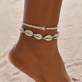 Ankle Bracelet Women's Body Jewelry For Party Daily Cord Shell Alloy Blue 2pcs