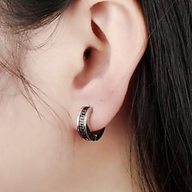 Men's Stud Earrings Geometrical Precious Simple Trendy Modern Stainless Steel Earrings Jewelry Silver For Party Carnival Street Club Bar 1 Pair