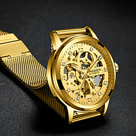 Men's Luxury Watch Skeleton Watch Mechanical Watch Automatic self-winding Formal Style Stylish Stainless Steel Black / Gold 30 m Hollow Engraving Large Dial An