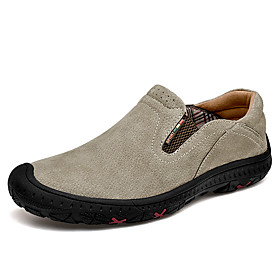 Men's Loafers  Slip-Ons Business / Casual / British Daily Office  Career Pigskin Breathable Non-slipping Shock Absorbing Khaki / Brown / Gray Fall / Winter