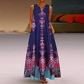 Women's A-Line Dress Maxi long Dress - Sleeveless Pocket Print Spring  Summer V Neck Casual Boho Holiday Vacation 2020 White Black Blue Yellow Light Blue S M L