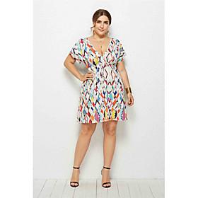 Women's Plus Size Rainbow Dress Elegant Skater Rainbow Solid Colored V Neck M L Loose