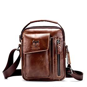 Men's Bags Cowhide Crossbody Bag Zipper Solid Color for Outdoor / Office  Career Maroon / Black / Dark Coffee / Brown / Fall  Winter