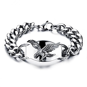 Men's Chain Bracelet Geometrical Eagle Stylish Titanium Steel Bracelet Jewelry Silver For Daily Holiday