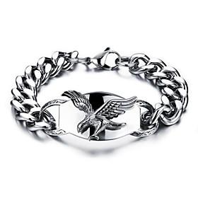 Men's Chain Bracelet Geometrical Eagle Stylish Titanium Steel Bracelet Jewelry Silver For Daily Holiday