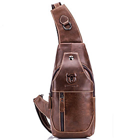 Men's Bags Cowhide Sling Shoulder Bag / Chest Bag Zipper Solid Color for Daily / Outdoor Black Grey / Black / Yellow / Brown / Fall  Winter