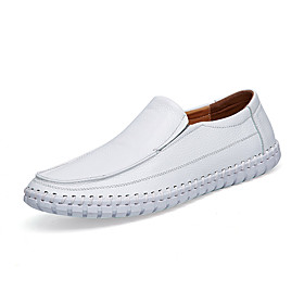 Men's Loafers  Slip-Ons Business / Classic / Casual Daily Office  Career Nappa Leather Breathable Handmade Non-slipping White / Black / Yellow Spring / Fall