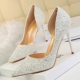 Women's Wedding Shoes Stiletto Heels Stiletto Heel Rhinestone PU Spring White / Red / Gold / Party  Evening