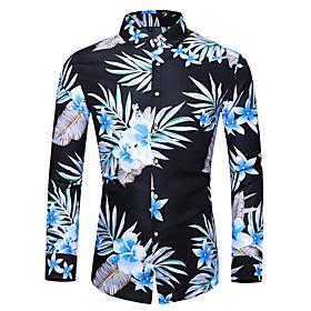 Men's Casual Shirt Floral Long Sleeve Tops Basic Navy Blue