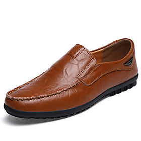 Men's Loafers  Slip-Ons Moccasin Comfort Shoes British Daily Leather / Cowhide Breathable Non-slipping Shock Absorbing Light Brown / Dark Brown / Black Spring