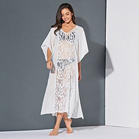 Women's Basic Swing Dress - Tribal White, Cut Out Split Patchwork White L XL XXL