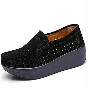 Women's Flats Creepers Round Toe PU Spring   Fall Black / Red / Blue