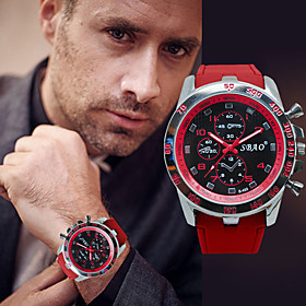 Men's Sport Watch Quartz Formal Style Stylish Casual Chronograph Analog Orange red White Black / Two Years / Silicone / Large Dial / Two Years